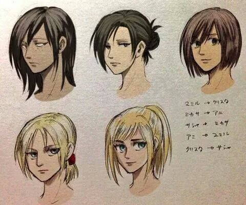The snk girls wearing each other's hairstyles<<<this is sooooo confusing...