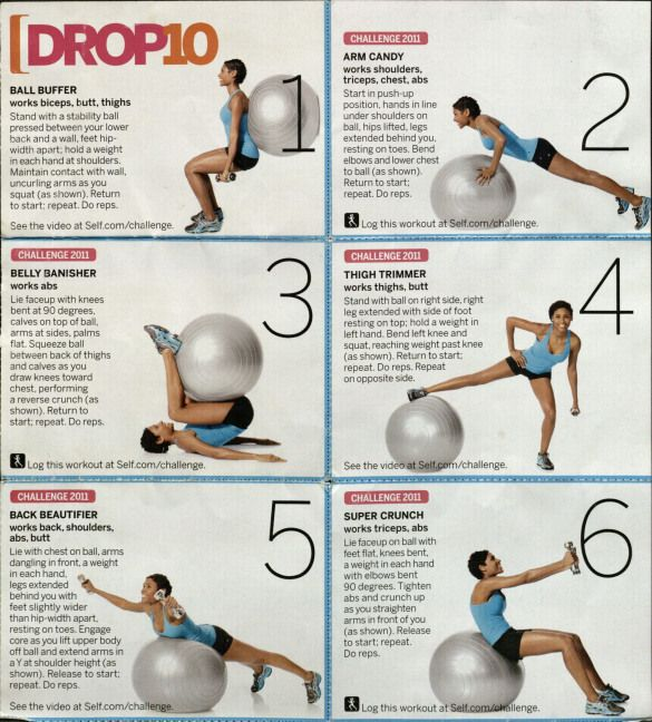 Drop 10 Workout 1 Equipment Exercise Ball Dumbbells From Self Corestability Ball Exercises Excercise Ball Workout Drop 10 Workout