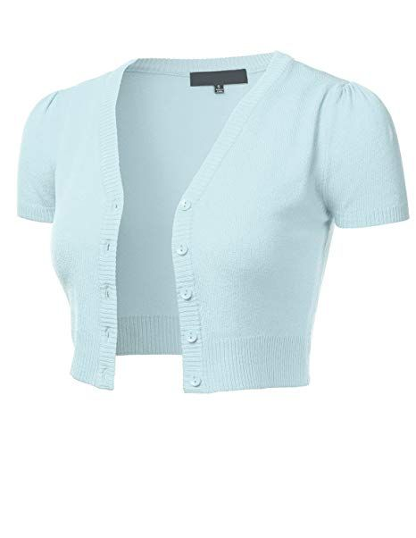 0083e4d4090ce8 FLORIA Womens Button Down Short Sleeve Cropped Bolero Cardigan Sweater  (S-4X) at Amazon Women's Clothing store: