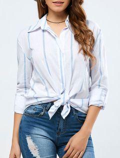 Abertura gola manga longa blusa branca listrada feminina torcida Casual de algodão
