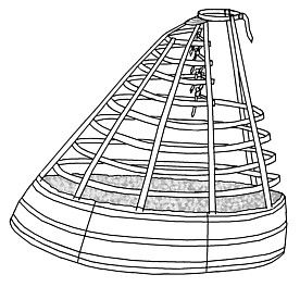 Crinoline Hoop Skirt: Crinoline hoop skirt from the Crinoline period. It created a wide circumference under dresses during this period. It appears to be a circular cage.