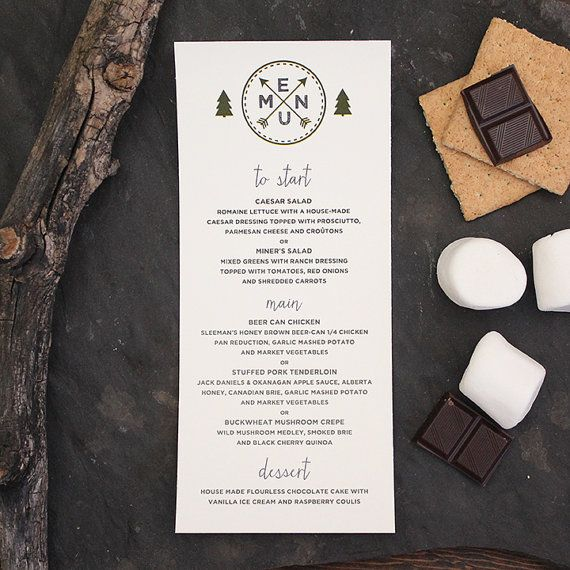 Wedding Menu Mountain Trees Fog Rustic Camping Invitation Invite Suite Save The Date by Pink Umbrella Designs