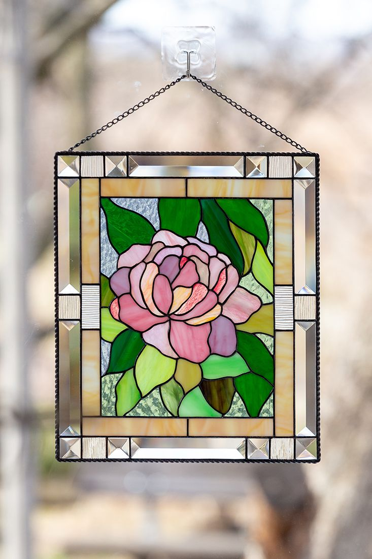 Peony Stained Glass Window Panel Decor Modern Stained Glass Etsy