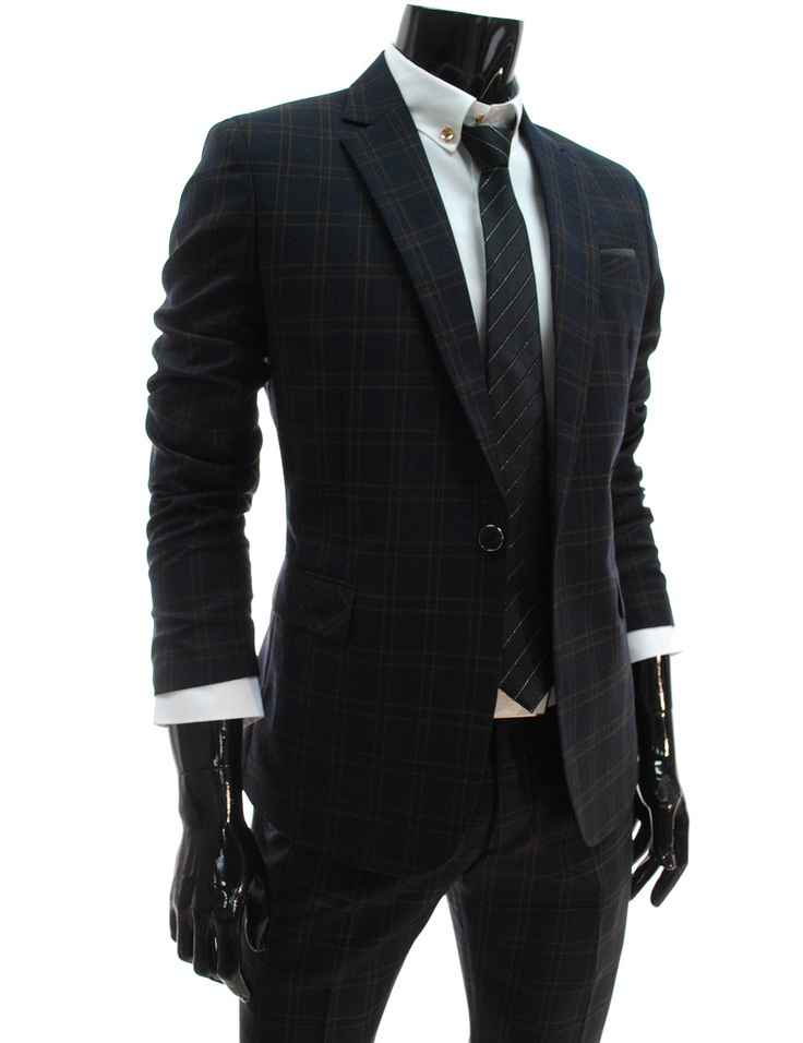 Slim Fit Single Breasted Checked Dress Suit