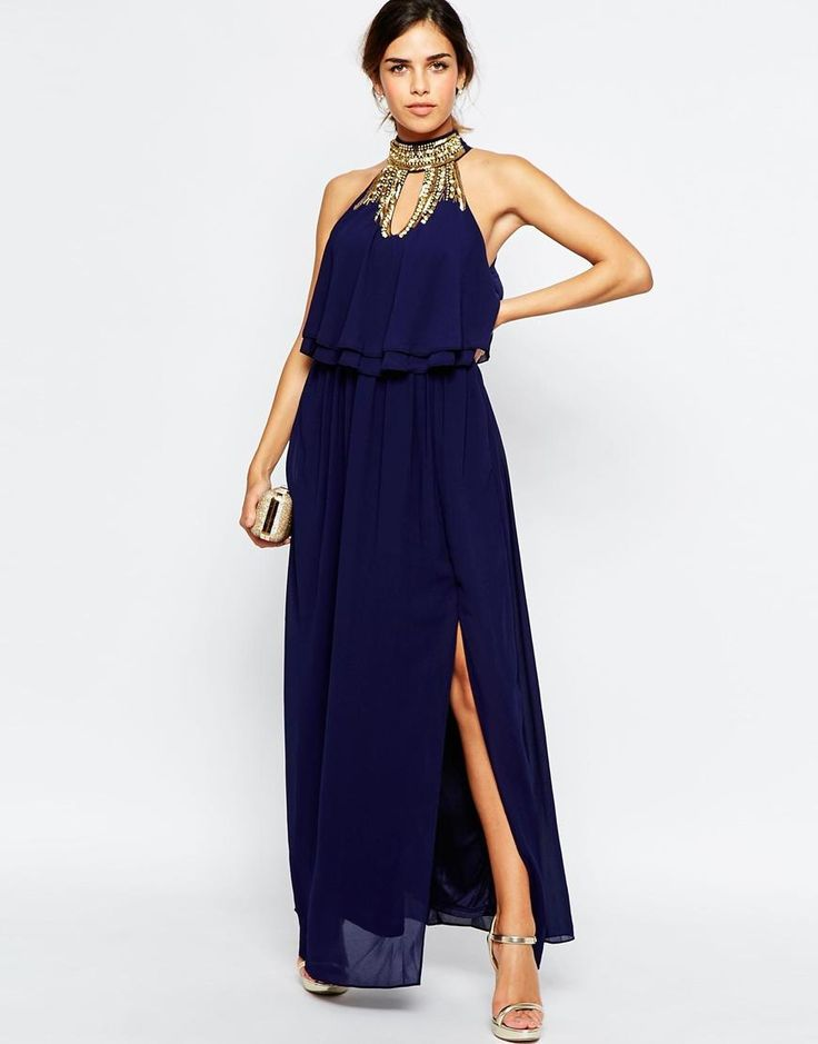 Tfnc vestido largo a capas con cuello alto adornado de for Navy blue maxi dress for wedding