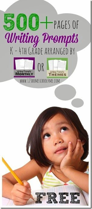 FREE Writing Prompts from 123 Homeschool 4 me,  contain 2 different size ruled paper so they are ideal for PreK-4th grade students