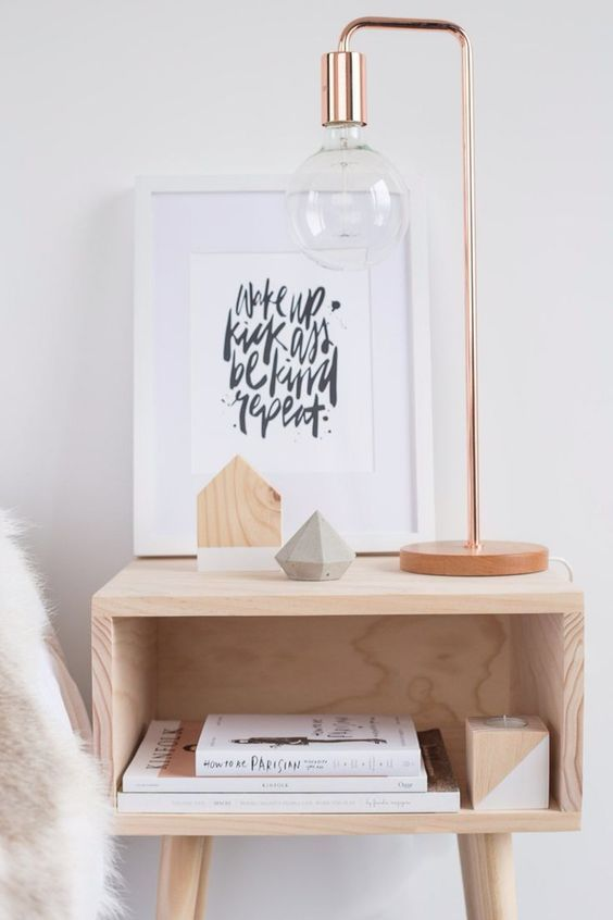 Copper bedside lamp l 'Wake up, kick ass, be kind, repeat' quote l Timber bedside table: