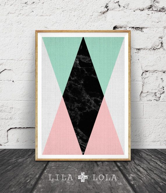 Geometric Print, Printable Wall Art, Pink Black Mint Green Decor, Scandinavian, Modern Midcentury, Instant Download, Black Marble, Triangle