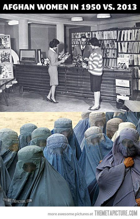 "Evolution of Afghan women…    Um, no. The top picture had a little sign in lower left corner reads, ""Stereo"". Pretty sure that's not Afghanistan in any era. FAIL."