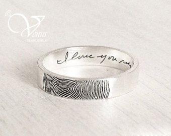 Actual Fingerprint Ring Custom Handwriting Ring Personalized