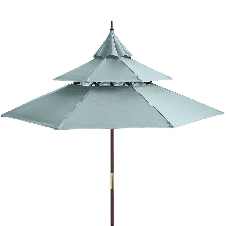 Inspired by the tiered roof lines of Asian architecture, our outdoor umbrella features a colorfast, water-repellent canopy topped by a unique finial accent. Underneath, a pulley design allows for easy opening, and the eucalyptus pole assembles simply and provides lasting stability. Extra-large size shades most 48'' round or square outdoor tables. Includes drawstring storage tote.