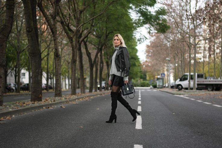 Biker jacket, knitwear and over-the-knee boots