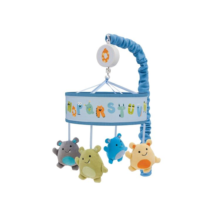 Lambs and Ivy Alpha Baby Musical Mobile, Blue