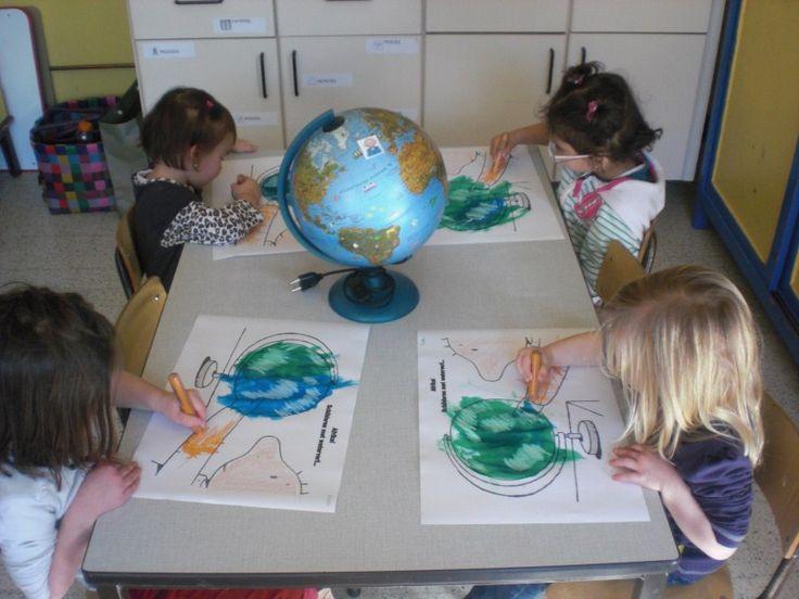De wereldbol schilderen met ecoline & wasco (techniek) !
