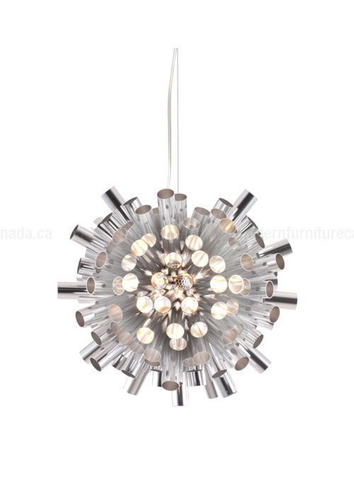 Let the burst of aluminum engulf you in all its glory. The luminescent Extravagance Ceiling Lamp has an aluminum shade with a height adjustable chrome body. Comes with ten watt halogen bulbs.