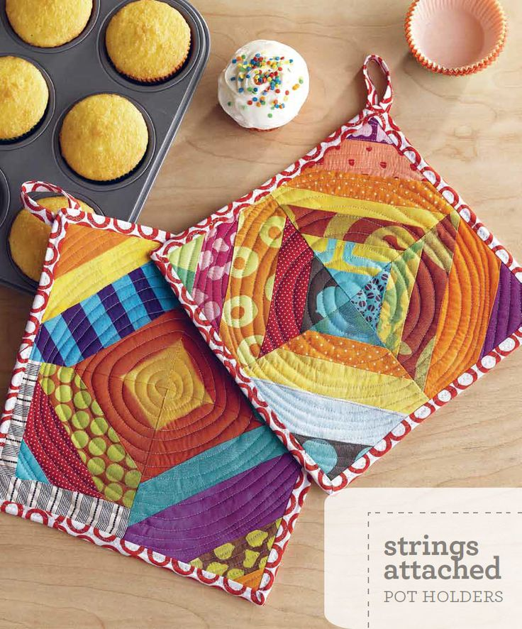I love these scrappy pot holders by Malka Dubrawsky. What a great way to experiment with improvisational quilting!