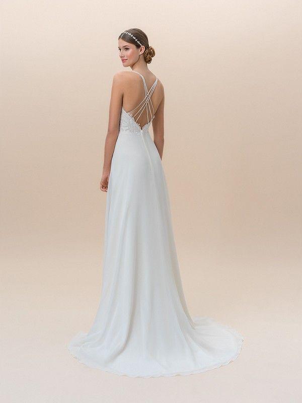 13c5a7df3baf Moonlight Tango T825B casual care-free chiffon wedding dress with lace  bodice and spaghetti straps #bride #wedding #bridal #weddingdress  #ALineweddingdress