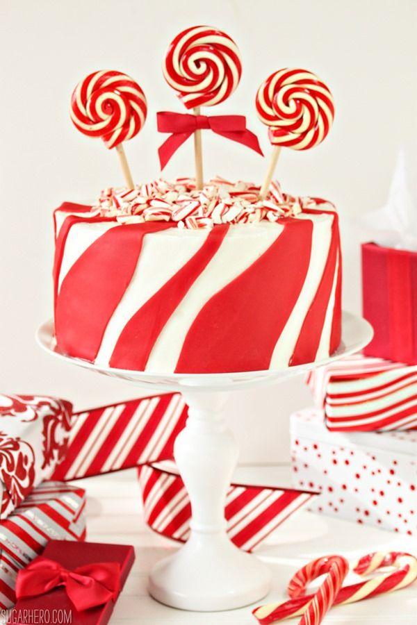 Candy Cane Chocolate Cake | From SugarHero.com