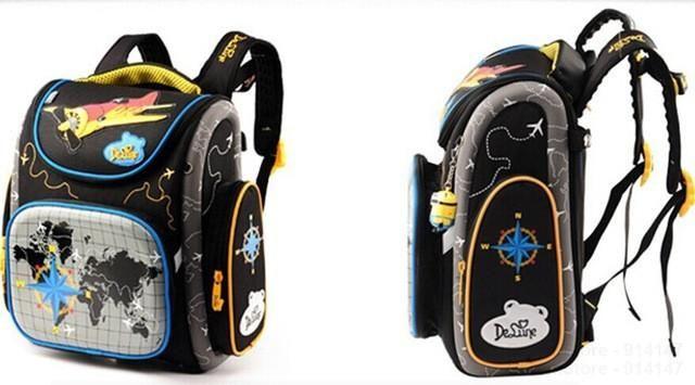 2016 Hot Boys School Bags Dark Blue Cars Aircraft Children's Orthopedic Backpack Fashion New Mochila Infantil Bolsas Primary 1-5