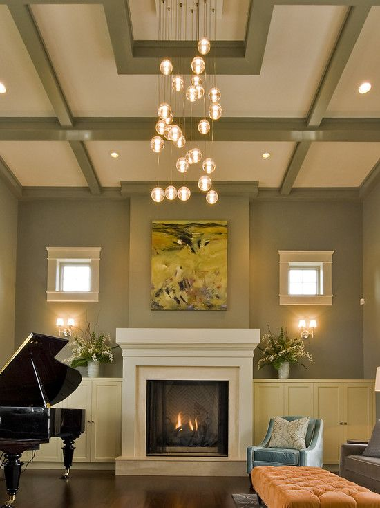Living Room The Basic Coffering In This Space Painted To Pull Wall Color Upward Is Designed A Way That Highlights Contemporary Light Fixture