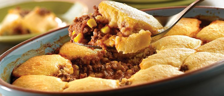 This cheesy, kicked-up beef and corn casserole is topped with cornbread to make a heartydish that the whole family will enjoy!
