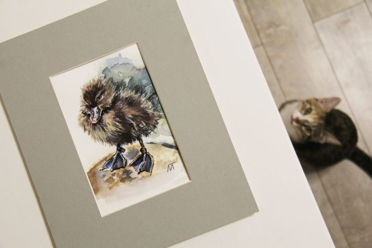 """Утенок Бонни"", акварель 10х15 см, с паспарту  ""Duckling Bonnie"", watercolour 10x15 cm, with a passe partout"