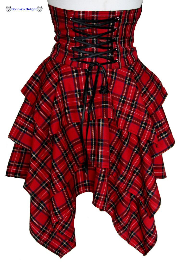 RED TARTAN STEAM PUNK BONDAGE CORSET SKIRT
