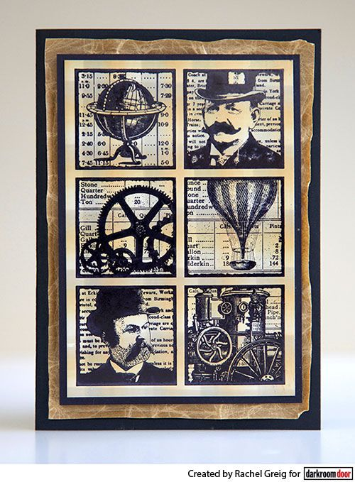 Card by Rachel Greig using Darkroom Door Steampunk Squares Collage Stamp