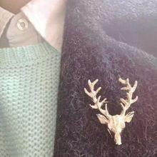 1 stuk hot unisex dierlijke kerst xmas populaire schattige herten gewei hoofd vergulde pin broches sieraden styling(China (Mainland))
