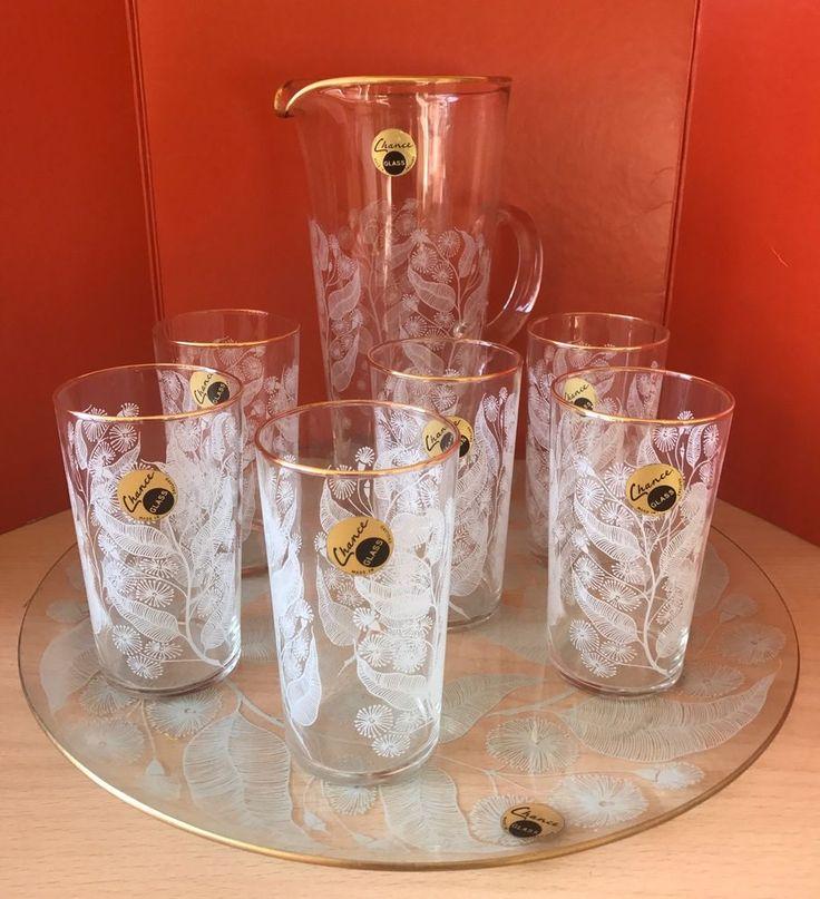 STUNNING 50's 60's Chance Glass Calypso Water Lemonade Set Jug Glasses RARE Tray  | eBay