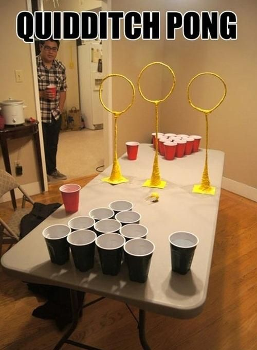 Quidditch pong! lol  I so want to try this! I know I'd suck, but it'd still be fun!