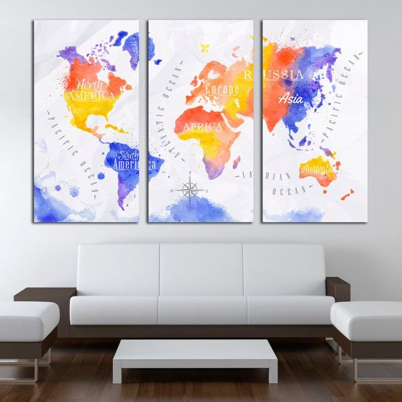 Watercolor World Map Canvas Print, World Map Large Canvas Print, Extra Large Wall Art, World Map Wall Canvas Art, Map 1/3/4/5 Panel Canvas…