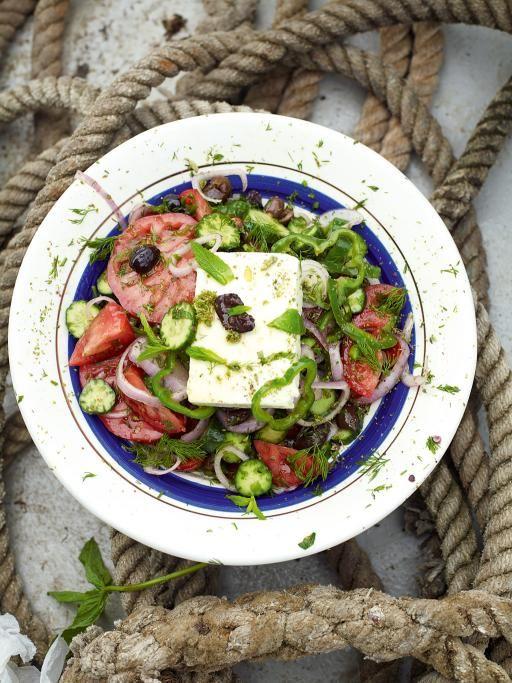 I would use red bell pepper. I can't eat green. Allergic.! greek salad | Jamie Oliver | Food | Jamie Oliver (UK)