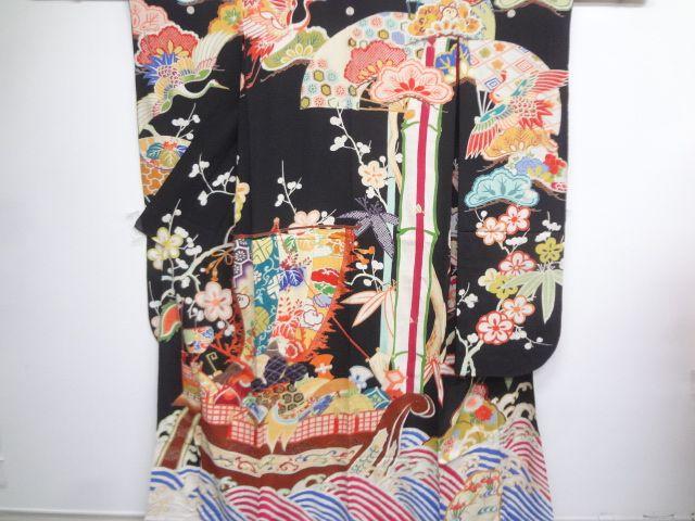 大正ロマン 錦紗宝船に松竹梅・鶴模様刺繍花嫁衣裳五つ紋振袖三枚重ね