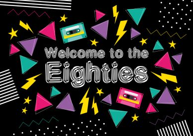 Coole Einladung zum Geburtstag in schwarz-buntem 80er Jahre Look für die Eighties Motto Party
