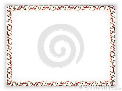 Frame and border of ribbon with the Japan flag, edging from the golden rope. 3d illustration.