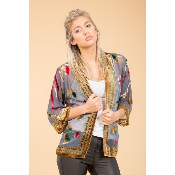 Jayley Grey Silk Devore Jacket found on Polyvore featuring women's fashion, outerwear, jackets, gray jacket, silk kimono, grey kimono, silk kimono jacket and grey jacket
