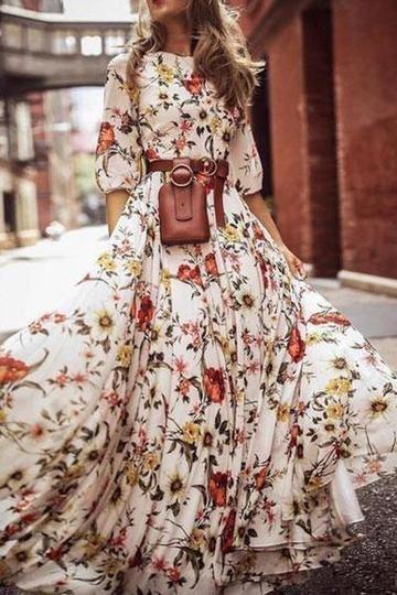 Stylish Elegant Floral Print Half Sleeve Maxi Dresses 11