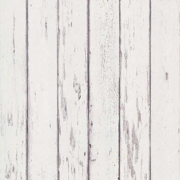 Weathered Wood Boards Wallpaper White and Gray