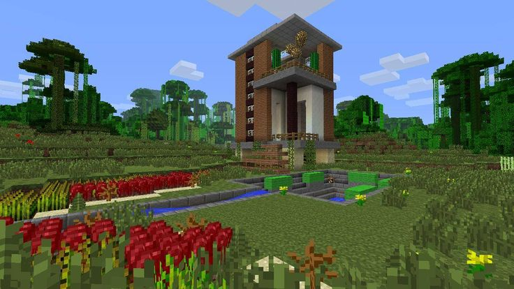 Modern minecraft house design jungle house with swimming for Minecraft exterior design ideas