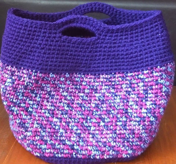 Crochet carry bag Super useful. Not too big, not too small. Very strong and holds heaps. Has a round bottom so it sits on any flat surface easily.