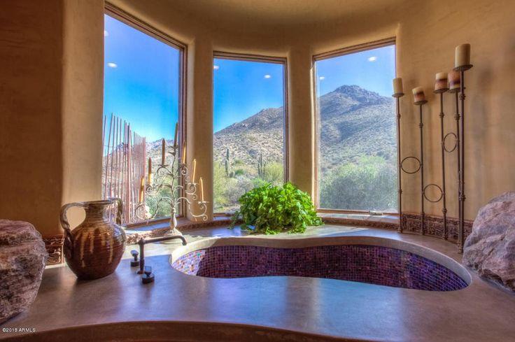 Southwestern Master Bathroom with Brizo - Tresa Roman Tub Filler Faucet, High ceiling, Undermount sink, Master bathroom