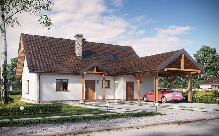 #projekt #dom #jednorodzinny #tradycyjny #parterowy #poddasze #użytkowe #wiata
