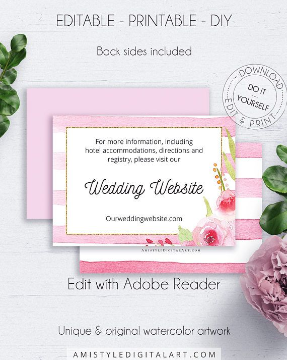 Fl Wedding Website Card Invitation Set Details Enclosure Insert Cards In 2018 Watercolor