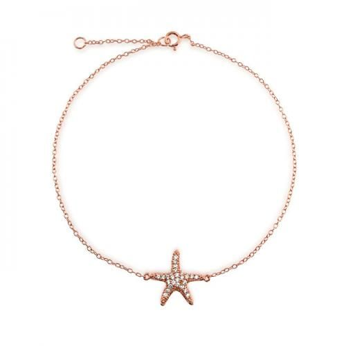 Bling Jewelry Pave CZ Rose Gold Vermeil Happy Starfish Bracelet 8.5 inch