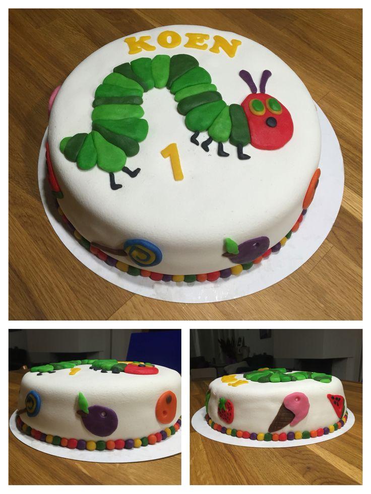 Taart Rupsje Nooitgenoeg - birthday cake Very Hungry Catterpillar - Koen 1 jaar