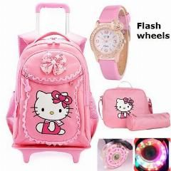 [ 25% OFF ] Hello Kitty Children School Bags Mochilas Kids Backpacks With Wheel Trolley Luggage For Girls Backpack Mochila Infantil Bolsas