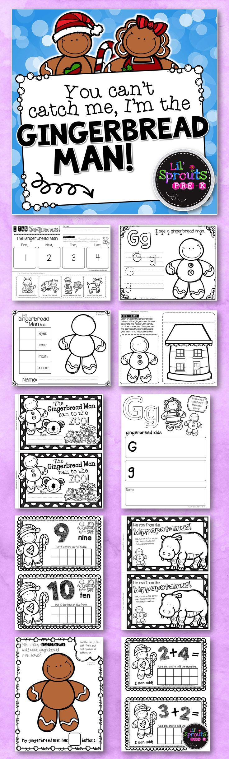 This is a complete unit on The Gingerbread Man! There are so many printables, worksheets, activities and centers to choose from! This unit is designed for Preschool, Pre-K, and Kindergarten. Great for the holidays! Over 120 pages of resources! Lil' Sprouts Pre-K