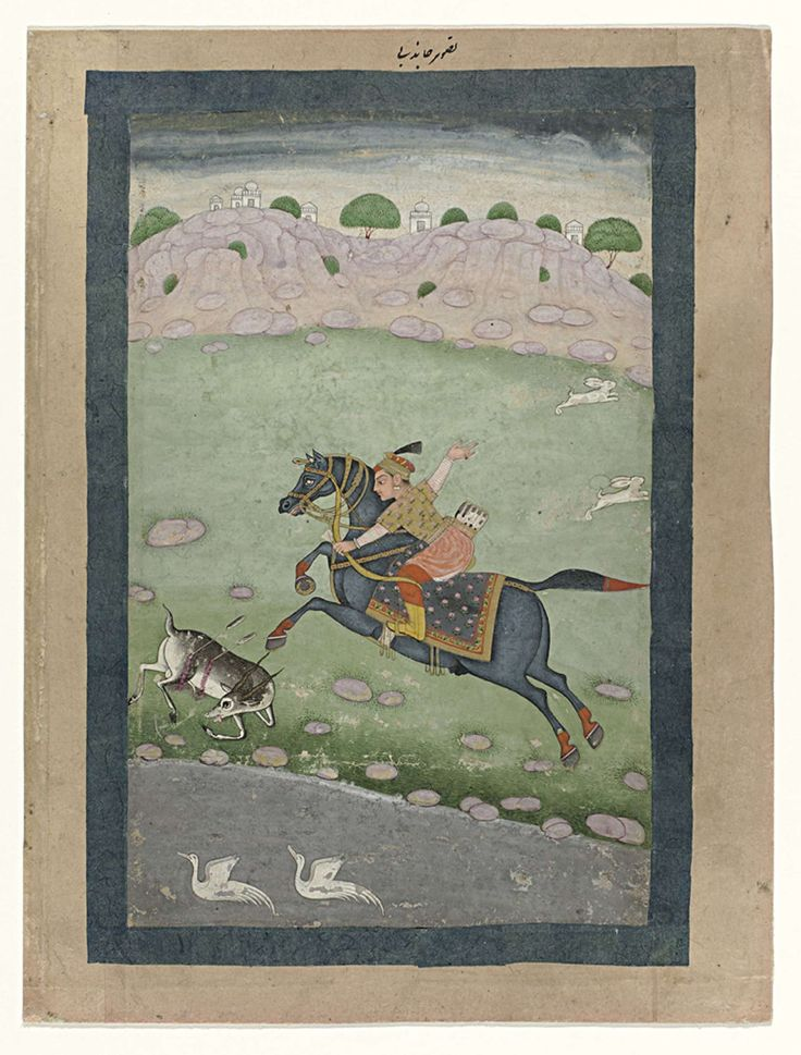Anonymous   Ruiter te paard, Anonymous, 1750   Een ruiter te paard heeft een jonge reebok die aan de waterplas aan het drinken was dodelijk getroffen met twee pijlen en ze zakt voor het paard door haar poten, bloedend uit de pijlwonden in haar flank; op de achtergrond gaan twee hazen er vandoor naar rechts; in de waterplas zwemmen twee witte ganzen(?); achter de heuvelrug zijn de torens van een paleis zichtbaar. De voorstelling is op een stuk grauw karton geplakt en omraamd door donkergroene…