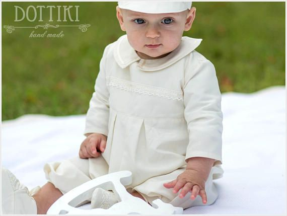 Baby Boy Baptism Outfit Christening Gown Made of Silk in Ecru